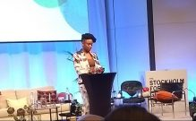 Adichie speaking at the forum