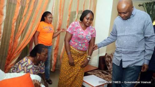 Senate President, Bukola Saraki visited Sergeant-At-Arms, Sarah Davou