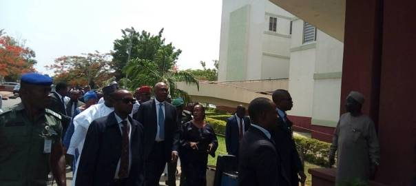 Senators arrive National Hospital to visit Dino Melaye