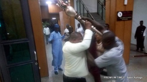 Thugs stealing the mace from the Senate