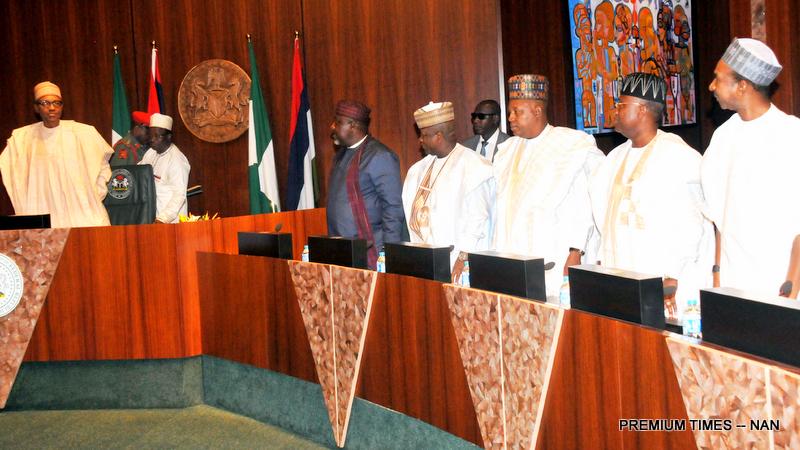From left: President Muhammdu Buhari; Gov Rochas Okorocha of Imo; Gov Abdullaziz Yari of Zamfara State; Gov Kashhim Shettima of Borno; Gov Jibrilla Bindo of Adamawa during a meeting of the President with APC Governors at the Presidential Villa in Abuja on Tuesday (3/4/18)