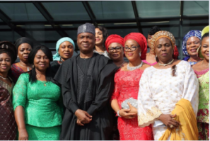 Saraki with some members of the Conference of Nigeria Female Parliamentarians