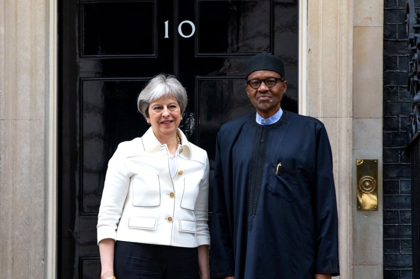 Theresa May and Muhammadu Buhari