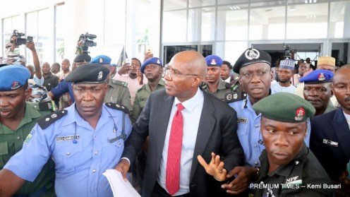 Senator Omo-Agege arrested by the Police (Photo taken by Kemi Busari, 18/04/2018)