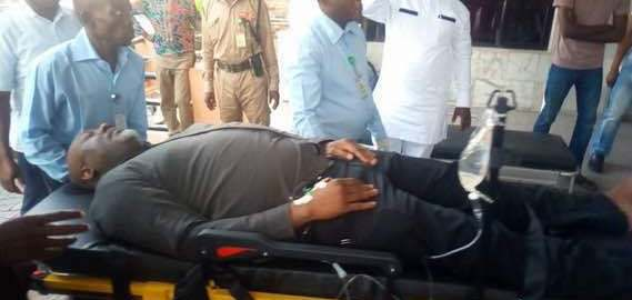 Senator Dino Melaye arrived at Zankli Hospital Abuja in a stretcher