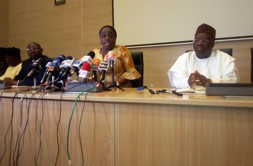 Minister of Finance, Kemi Adeosun, with Permanent Secretary, Federal Ministry of Finance, Mohammed Dutse (Right) with representative of the Accountant General of the Federation, Ahmed Idris, during a media briefing by the minister on Friday in Abuja.