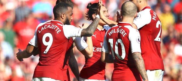 Arsenal celebrates after scoring (Photo Credit: SuperSport on Twitter)