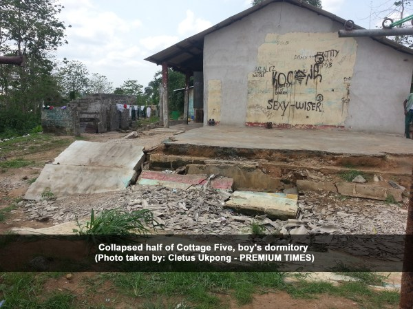 Collapsed half of Cottage Five, boy's dormitory - Akwa Ibom