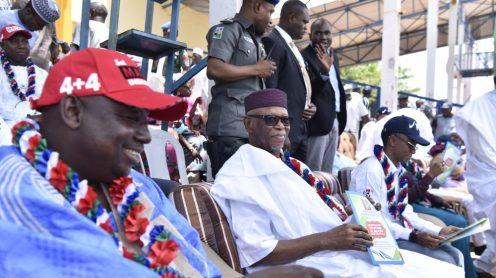 Acting Chairman APC Kaduna State Shuaibu Idris, APC NationalChairman Chief John Oyegun and Governor Nasir El-Rufai at the flag-off of the APC Kaduna's local government election campaign. Credit: KDSG Media
