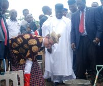Representative of the German Ambassador to Nigeria, Bernhard Schlagheck, Christopher Wenzel, at the foundation laying ceremony of the Thompson & Grace Medical University in Uyo, Akwa Ibom State. Deputy Governor of Akwa Ibom State, Moses Ekpo, and Director of Project Management Office, Thompson & Grace Medical University, Emmanuel Umoh, watch,