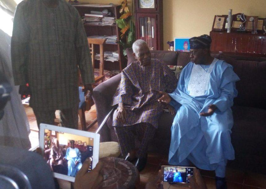 Former President Olusegun Obasanjovisits Afenifere leader, Reuben Fasoranti.