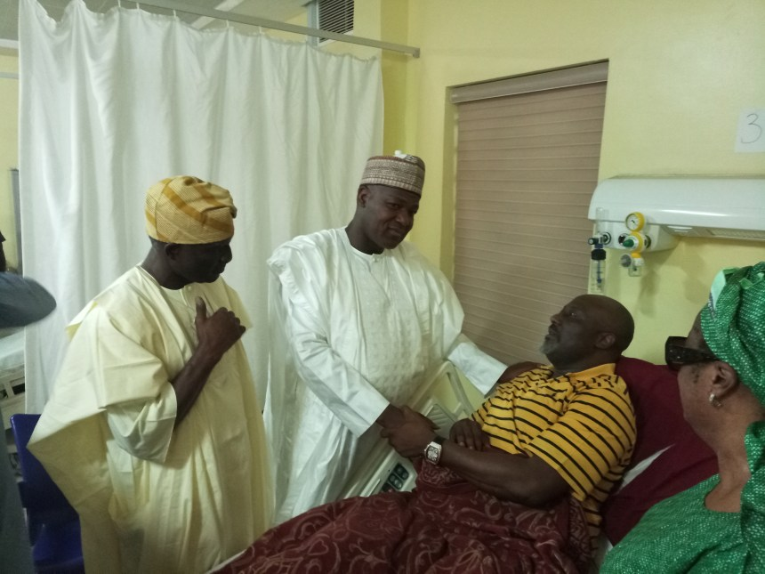 Senator Dino Melaye on hospital bed