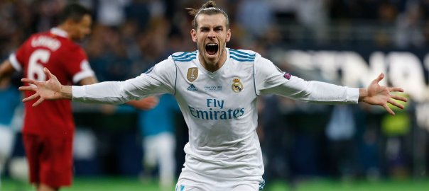 Gareth Bale Celebrates his first goal of the night against Liverpool during the UCL Final [Photo; Real Madrid Twitter page]