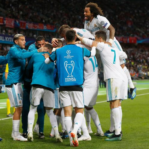 Real Madrid Players celebrating their second goal against Liverpool in #UCLFinal [Photo: Real Madrid twitter page]
