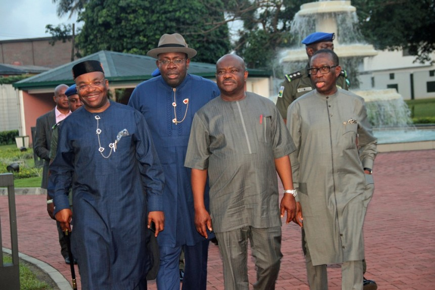 L-R: Governor Udom Emmanuel of Akwa-Ibom State, and his Counterparts from Bayelsa and Chairman of the South-South Governors' Forum, Hon. Seriake Dickson; Rivers, Barr. Nyesom Wike; and Delta State, Senator Ifeanyi Okowa, at the Government House, Port-Harcourt, for a meeting of the South-South Governors' Forum. Photo by Michael Owi.
