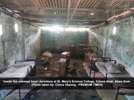 Inside the unkempt boys' dormitory at St. Mary's Science College, Ediene Abak, Akwa Ibom, (Cletus Ukpong)
