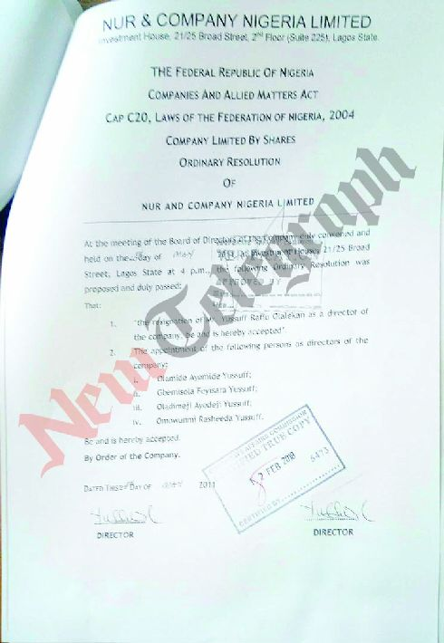 Lasun's company's letter to CAC listing his wife, children as co-directors of the company