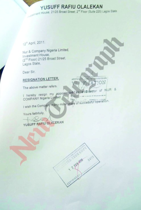 Lasun's younger brother's resignation letter as a director addressed to CAC