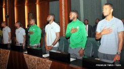 Cross section of members of the Super Eagles Team during a Farewell reception for the Eagles by President Buhari at the Presidential Villa in Abuja on Wednesday (30/5/18) 02871/30/5/2018/Callistus Ewelike/NAN
