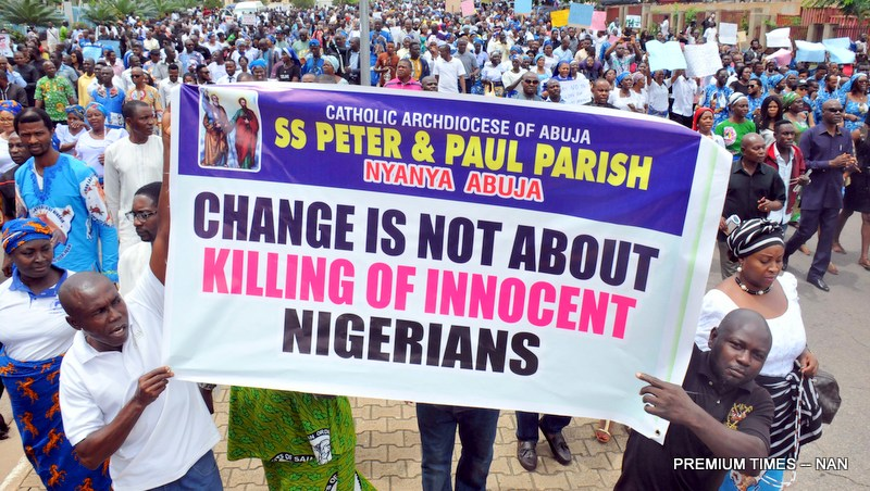 Catholic faithful during a peaceful prayerful procession to protest the killing of Catholic Priests and other Christians in Benue State, in Abuja on Tuesday (22/5/17). 02694/22/5/2018/Callistus Ewelike/BJO/NAN