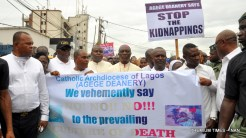 Catholic Archbishop of Lagos, Most Rev Dr Alfred Martins leading Catholic faithful and other Christians during a peaceful prayerful procession to protest the killing of Catholic Priests and other Christians in Benue State, in Lagos on Tuesday (22/5/17).02695/22/5/2018/Okoya Olatunde/ICE/NAN