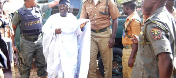 Former Governor of Plateau, Sen. Jonah Jang being led to the court by the Prisons officials for continued hearing in alleged corruption charges by the EFCC in Jos on Thursday (24/5/18). 24/5/2018/Sunday Adah/JMH/BJO/NAN