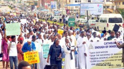 Pic.23. Catholic faithful during a peaceful protest in Ibadan on Tuesday (22/5/18), over killing of some Catholic Priests and other Christians in Benue State. 02696/22/5/2018/Olayinka Bode-Are/ MA/JAU/ICE/BJO/NAN