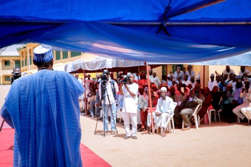 President Muhammadu Buhari addressing delegates at the APC Ward Congress in his hometown, Daura (Photo by Bashir Ahmad on Twitter)