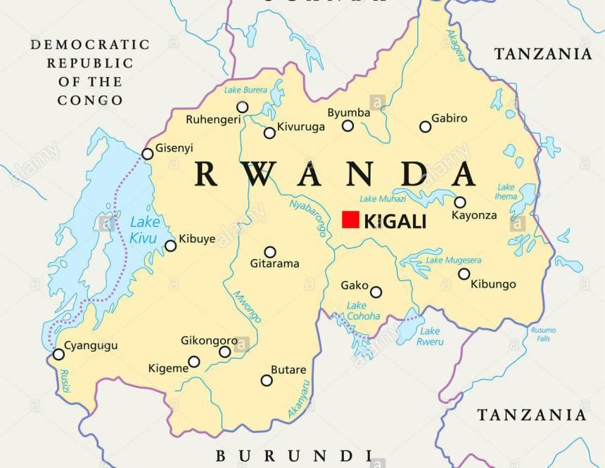 Rwanda on map