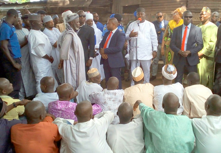 Governor Ifeanyi Ugwunayi addressing the Muslim community in Enugu State.