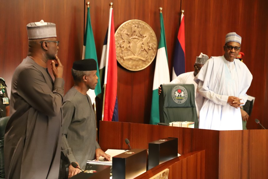 (l-r) SGF Mr. Boss Mustapher; Vice President Yemi Osinbajo and President Muhammadu Buhari during the Federal executve Council Meeting at the aso Chambers, State House, Abuja. Photo by Abayomi Adeshida 13/06/2018