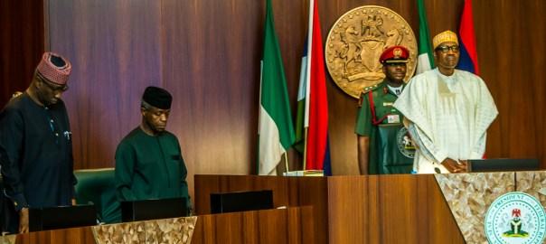 President Buhari presiding over a FEC meeting by Novo Isioro