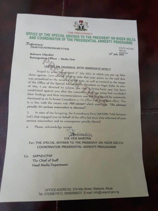 Boluere Opukiri Dismissal Lettter from Amnesty Office