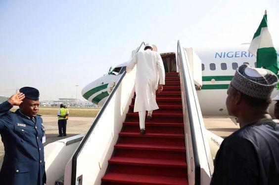 File photo of President Muhammadu Buhari jetting out of Nigeria