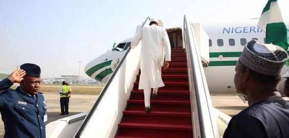 File photo of President Muhammadu Buhari jetting out of Nigeria