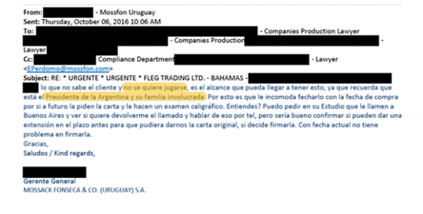 Email about Argentina president Macri and Family