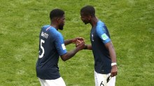 France vs Australia: Paul Pogba and Umtiti celebrates at the end of the encounter (Photo Credit: Reuters)