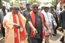 Governor Nyesom Wike (right) with Mr Ahmed Makarfi in Rivers state on Wednesday
