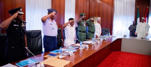 President Muhammadu Buhari and all serving chiefs in a meeting.