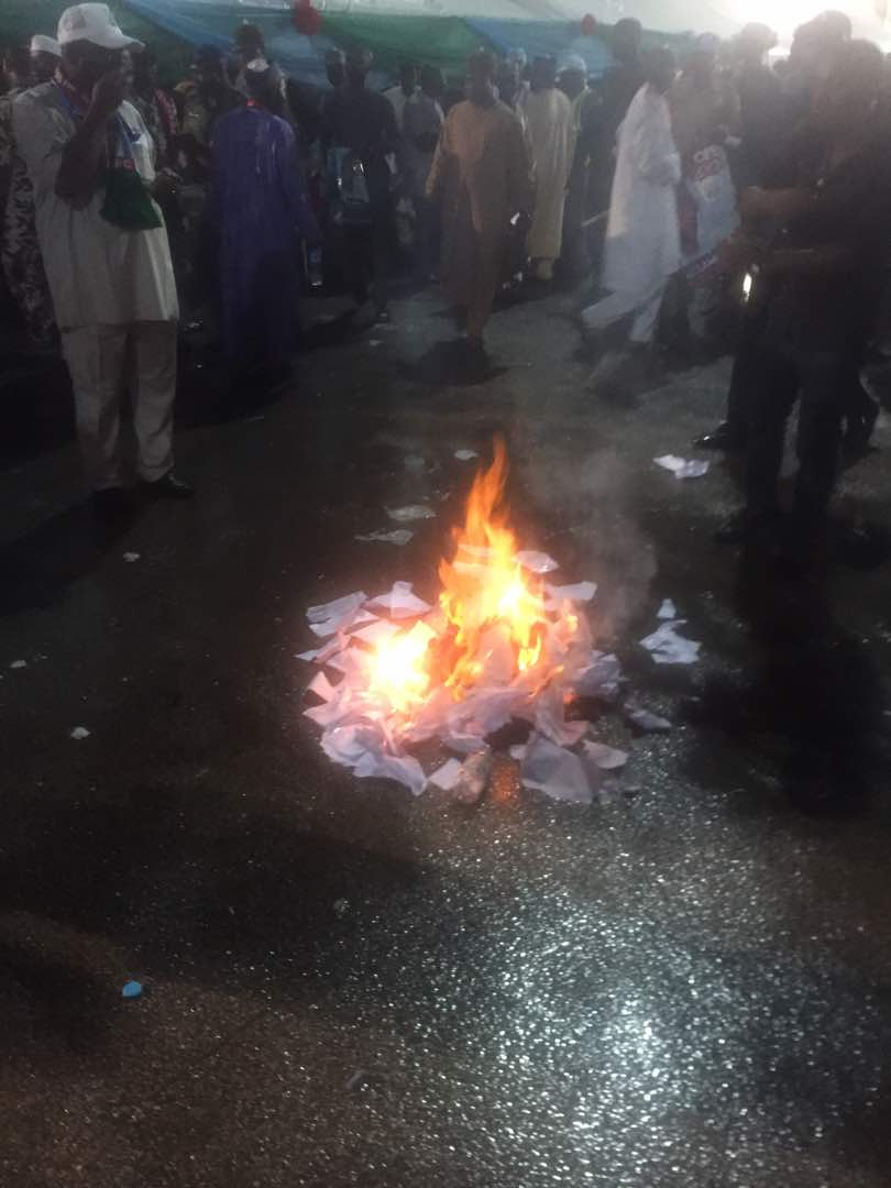 Ballot paper set ablaze by thugs at the convention venue