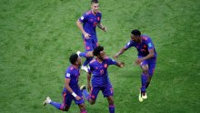 Juan Cuadrado celebrates his goal for Colombia (Photo Credit: Reuters)