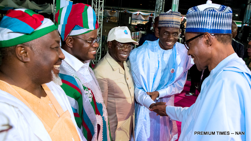 From left: Chairman, APC Convention Committee /Governor of Jigawa Badaru Abubakar; Gov Yahaya Bello of Kogi State; Newly elected APC National Chairman, Comrade Adams Oshiomhole; Newly elected National Secretary of the party, Alhaji Mai Mala Buni and President Muhammadu Buhari during the closing ceremony of the party's 2018 National Convention at the Eagles Square Abuja on Sunday (24/6/18)