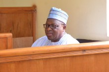 Former Governor of Plateau State, Sen. Joshua Dariye, during his arraignment at the FCT High Court Gudu,in Abuja on Tuesday (12/6/18). The Court sentence him to 14 year imprisonment for fraud and misappropriation of funds. 03249/12/6/2018/Hogan Bassey/NAN