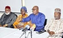 From left: Strategic Committee Member, Nigeria Intervention Movement (NIM), Chief Debe Odumegwu-Ojukwu; Director of Organisation and Operations, NIM, Mrs. Khairat Animashaun-Ajiboye; National Chairman, Alliance for New Nigeria (ANN), Dr Jay Samuels; and Deputy Director-General, NIM, Mallam Naseer Kura, during the official declaration of NIM to join ANN in Lagos on Wednesday (20/6/18).
