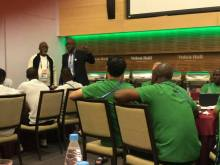 Segun Odegbami addressing the Super Eagles in Russia) Photo Credit: Segun Odegbami's Facebook Page