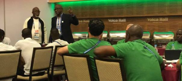 Segun Odegbami addressing the Super Eagles in Russia) Photo Credit: Segun Odegbami's Facebook Page