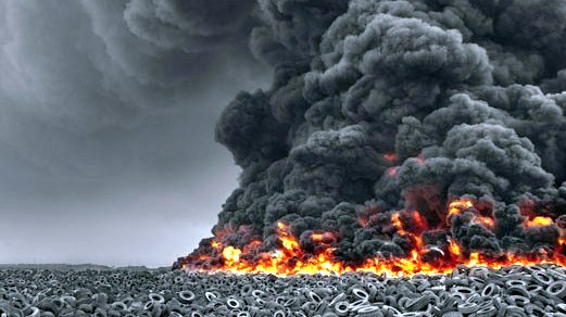 The tyre dump that was set on fire