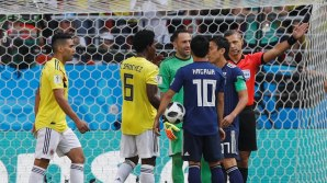 Carlos Sanchez Moreno sent off in the 3rd minute and Japan took the lead from the penalty spot (Photo Credit: Reuters)