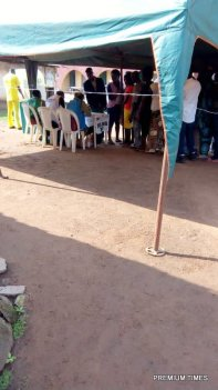 "Arrived 8:58am Emure LGA R. A 09, PU 15, total number of registered voters 228, commenced 8am. Two party agents represented APC and PDP. Accord to Daniel Cecilia, the Presiding officer ""The problem was that the elderly ones can't properly see and so family relatives assist"", there are no magnifiers and no braille"". The same challenge was experienced in PU 14 Ward 9."