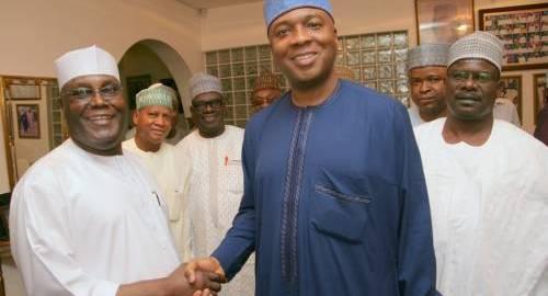 Atiku Abubakar shaking hands with Bukola Saraki {Sahara Reporters]